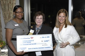Local Hero Phyllis Bernstein (center) with Aleta Stampley and Gillian Breidenbach of Bank of America</p>